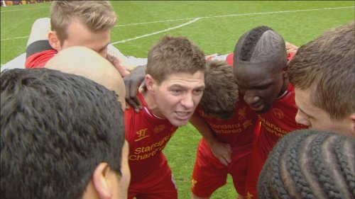 Steven Gerrard inspires the troops