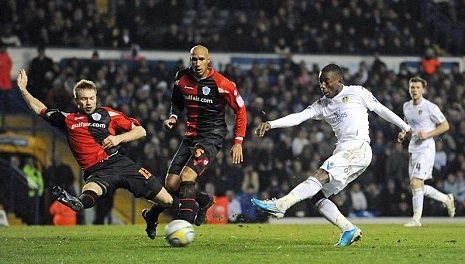 Striking success - Gradel scores his second for Leeds against QPR