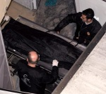 The body of the killed Serbian basketball fan is taken to the Forensics Institute