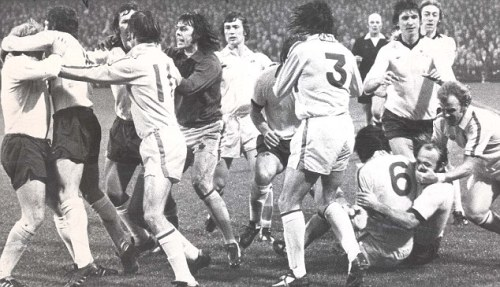 A typically calm moment from Derby v Leeds back in the day